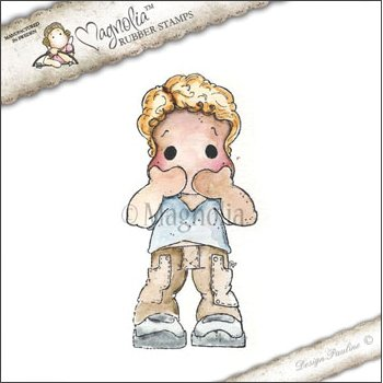 "Magnolia Speak No Evil Edwin Ribbon Cling Stamp, 6"" by 3"" Package, Pink/Blue - 1"
