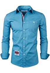 Tom's Ware Mens Trendy Roll-up Slim Fit Contrasted Inner Casual Dress Shirt