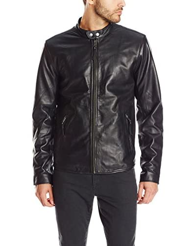 Lucky Brand Men's Cafe Racer Leather Jacket