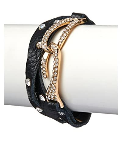 Chloe by Liv Oliver Black Leather Wrap Bracelet With Crystal Hook Closure