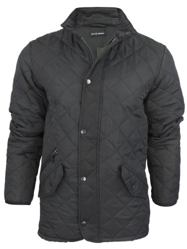 Private Member Mens Diamond Quilted Hunter Style Military Jacket/ Coat - Black