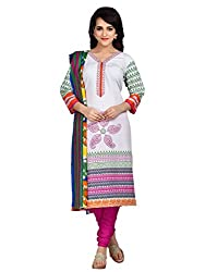 Shonaya White Colour Poly Cotton Printed Unstitched Dress Material