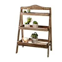 Foldable Wooden Plant Stand for Outdoor or Greenhouse, Three Shelves Product SKU: GD221582