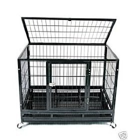 """36"""" Heavy Duty Pet Crate On Wheels *Black* front-1018954"""