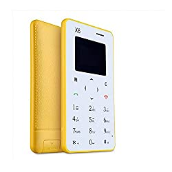 LASCOM INDIA X6 Mobile Phone Yellow,card size ,slimmest, smallest GSM Dual band
