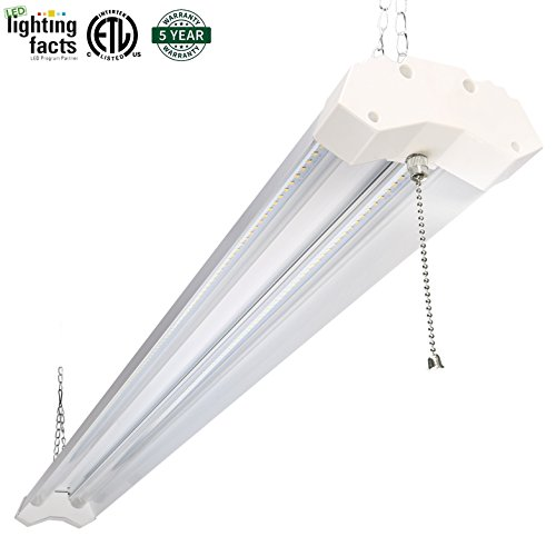 Hykolity Utility LED Shop Light 4ft 40 Watt 4800 Lumen 5000K Daylight White LED Garage Lights ETL Certified Double Integrated Ceiling Lighting Fixture with Pull Cord Switch (Flourescent Garage Lighting compare prices)