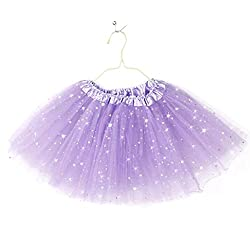 Imported Girls Kids Glitter Star Tutu Skirt Ballet Dress Pettiskirt Light Purple