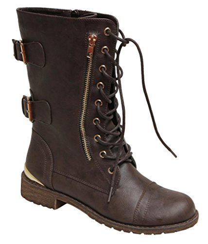 Natural Breeze lug-32 Women's Mid Calf Round Toe Lace up side zipper metal buckle decors boots Brown 7.5 (Natural Breeze compare prices)