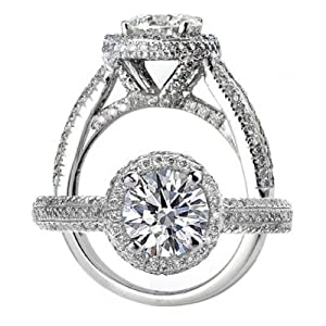 14k White Gold Halo Set Round Brilliant Cut Diamond Engagement Ring (1 1/4 Carats, VS-2 Clarity, G Color) by ATR Jewelry