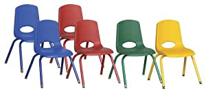 """ECR4Kids School Stack Chair with Powder Coated Legs/ Nylon Swivel Glides, 14"""", 6-Pack, Assorted Colors"""
