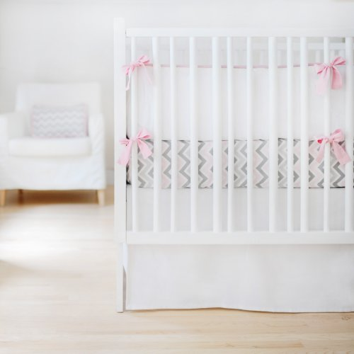 New Arrivals Sweet and Simple Crib Bedding Set, White, 3 Piece
