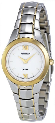 SUP108P1-Seiko Ladies Solar Automatic Watch Analogue Watch-White Face - 2 Tone steel Bracelet