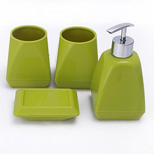 NOVICZ 4 Pcs Modern Bathroom Set Soap Holder Dish Soap Dispenser Tooth  Brush Holder   Green