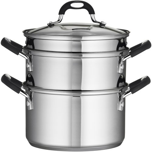 3-Quart Kitchen Double Boiler, Steamer, Steel, Glass Lid, Soft Handle, Silver