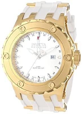 Invicta Men's 12038 Subaqua Reserve GMT Silver Dial White Rubber Watch