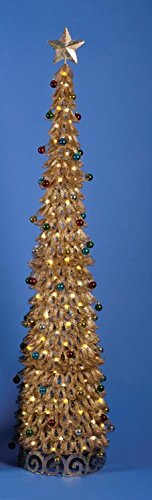6' Lighted Pre-Decorated Looped Gold Glitter Christmas Tree - Clear Lights