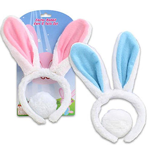 Easter Bunny Ears - Plush Rabbit Ears and Cotton Tail- 1 Assorted Color