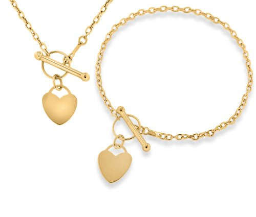 9ct Yellow Gold Mini Heart T-Bar Necklace and Bracelet Set (46cm/18