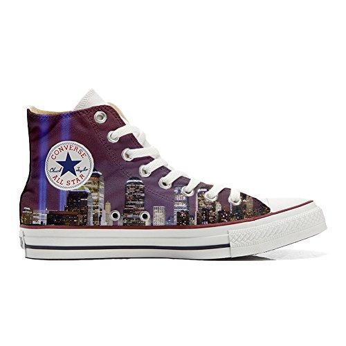 Scarpe Converse All Star personalizzate (scarpe artigianali) veduta di New York - TG38