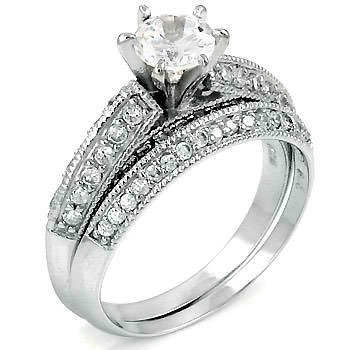 .925 Sterling Silver Wedding Ring Set Half-Encrusted in Stunning Stones, Crafted with Top Quality Diamond Color Round Cut Cubic Zirconia, Limited Time Sale Price Offer, Comes with a Free Gift Box and Special Pouch