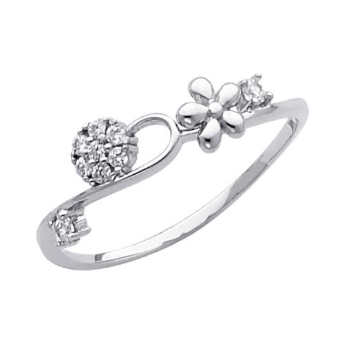 14K White Gold Heart Round-cut CZ Cubic Zirconia Ladies Promise Ring Band - Size 4