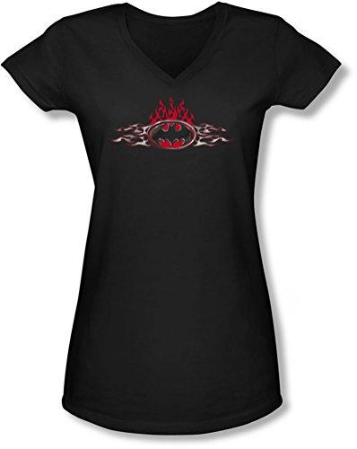Batman-In Flames bambini con Logo-Maglietta con scollo a V Nero  nero