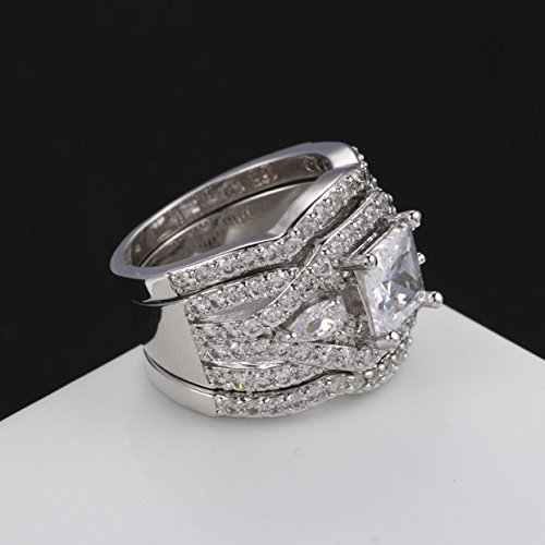 Zealmer Rhodium Plated Princess Cut Diamond Halo Cubic Zirconia CZ Infinity Wedding Bridal Ring Set 9