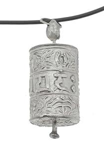 White Metal Tibetan Mantra Om Mani Padme Hum Prayer Wheel Pendant