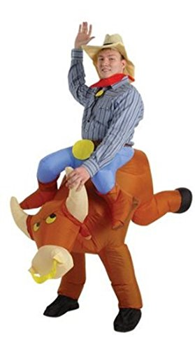 Inflatable Bull Rider Adult Fancy Dress Costume Cowboy Rodeo Stag Night Outfit