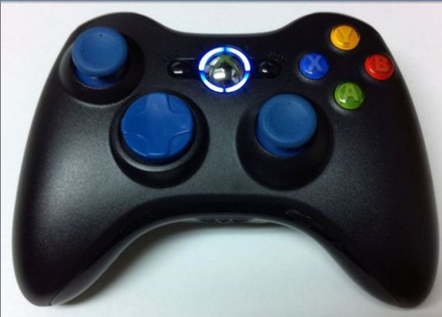 Modded Xbox 360 Rapid Fire wireless Controller with Blue D pad Blue Thumbstick and Blue LED for COD5 MW2