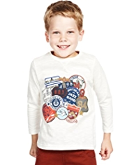 Pure Cotton Assorted Badge Print T-Shirt