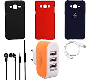 NIROSHA Cover Case Headphone USB Cable Charger for Samsung Galaxy ON5 - Combo