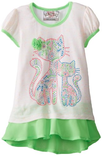 Beautees Little Girls' Fashion Top - Kitty, Neon Green, 6X