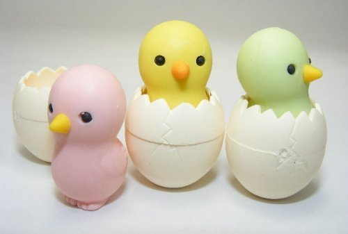 Iwako Baby Chick Erasers, 6 Pieces, 2 erasers for each color - 1