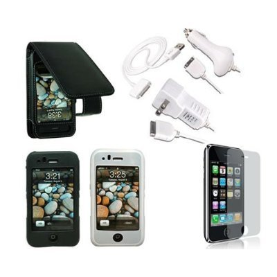 Premium Essential Accessories Bundle for iPhone 3G/ iPhone 3GS: Black Leather Case + Black Silicon Skin Case + Clear Silicon Skin Case + Travel Ac Home Charger + Auto Dc Car Charger + High Speed USB Data Cable + Transparent Screen Protector
