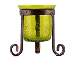 MystiqueDecors Antique Crackled Finish Hurricane Tealight Votive Candle Holder with Scrolled Wrought Iron Tripod in Green Color Single Piece for Christmas, Indoor or outdoor Home Decors