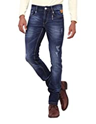 Kavis Mid Waist Dark Blue Colored Slim Fit Men's Jeans - B016WG1DBU