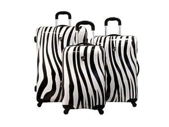 Heys USA Luggage Exotic Spinner 20 Inch Hard Side Carry On Suitcase, Zebra, One Size