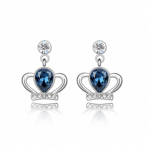 TAOTAOHAS- [ Search Name: Queen's Crown ] (1PAIR) Crystallized Swarovski Elements Austria Crystal Earrings, Made of Alloy Plated with 18K True Platinum / White Gold and Czech Rhinestone