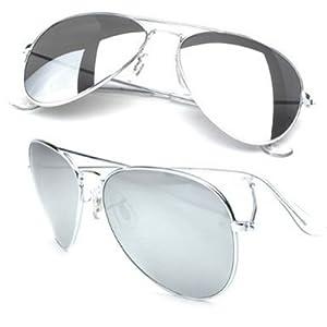 Mirrored Aviators Silver Metal Aviator Sunglasses (Silver)