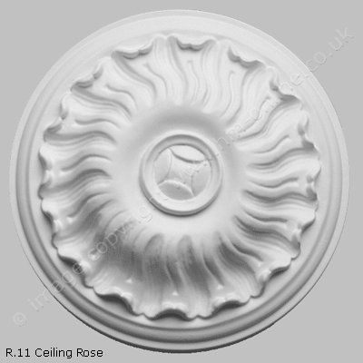 Pack of 2x R11 Ceiling Roses. A 7.5 inch traditional, round, detailed small ceiling medallion. Ideal for any small room, or hallway.