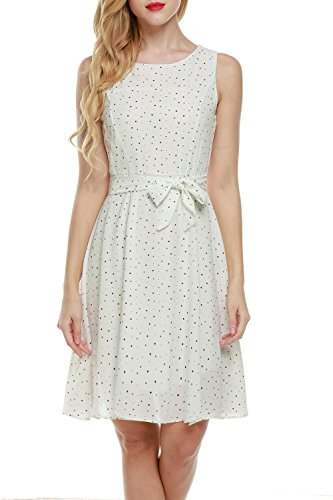 OURS Women's Summer Sleeveless Chiffon Pleated Cocktail Party Dress With Belt (XXL, # Dot 6)