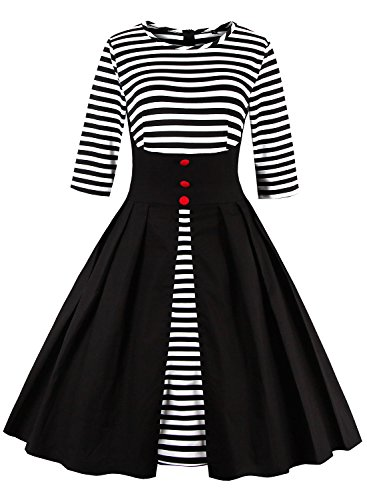 Ezcosplay Women's Vintage Striped Mid Sleeve A-line Cocktail Party Swing Dress