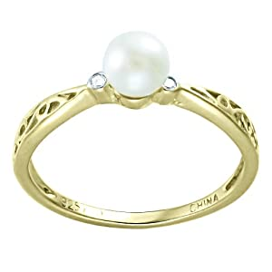 Children's 10K Gold Overlay Pearl and Diamond Accent Filigree Ring