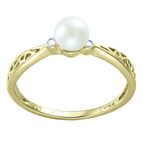 Children's 10K Gold Overlay Pearl and Diamond Accent Filigree Ring, Size 4