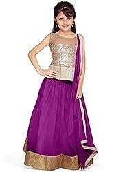 Beautiful Net Partywear Kids Purple Lehenga Choli (32 inches , 9-10 Years)