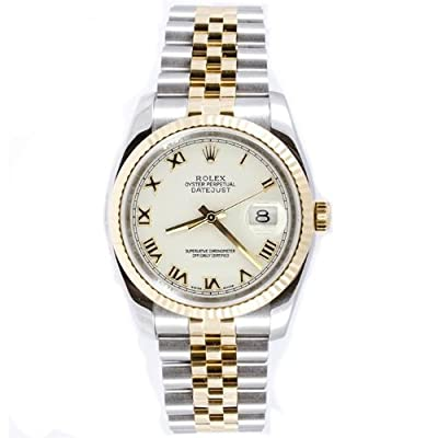 Rolex Mens Style Heavy Band Stainless Steel & 18K Gold Datejust Model 116233 Jubilee Band Fluted Bezel White Roman Dial