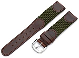 Hadley-Roma Men's MSM866RAB180 18-mm Brown and Olive 'Swiss-Army' Style Nylon and Leather Watch Strap