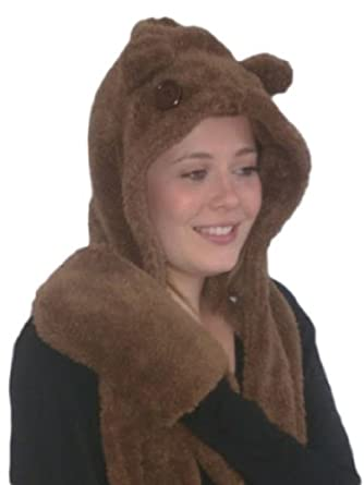 Unisex Cosy Teddy Hat, Hood, Scarf, Mitten combination. Brown