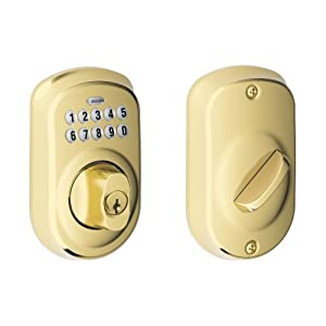 Schlage BE365VPLY505 Plymouth Keypad Deadbolt, Bright Brass